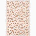 Hand-Made Ivory/ Orange Art Silk/ Chenille Modern Rug (2X3)
