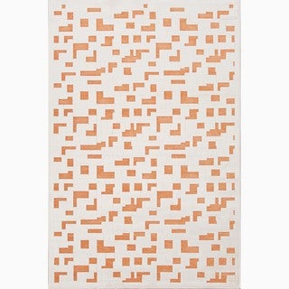 Hand-Made Ivory/ Orange Art Silk/ Chenille Modern Rug (9x12)