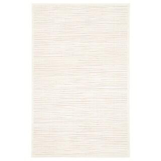 Handmade Ivory/ Taupe Art Silk/ Chenille Modern Ultra-soft Rug (5 x 7'6)