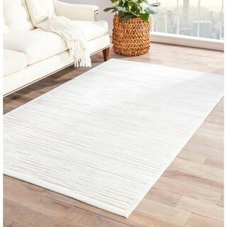 Handmade Ivory/ Taupe Art Silk/ Chenille Modern Rug (7'6 x 9'6)