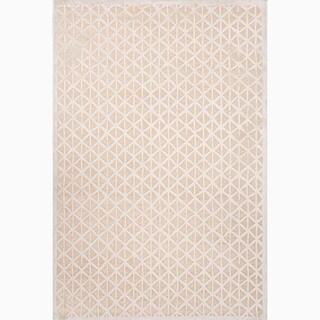 Handmade Taupe/ Ivory Art Silk/ Chenille Modern Area Rug (5 x 7'6)