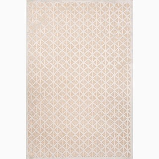 Hand-Made Taupe/ Ivory Art Silk/ Chenille Modern Rug (7.6x9.6)