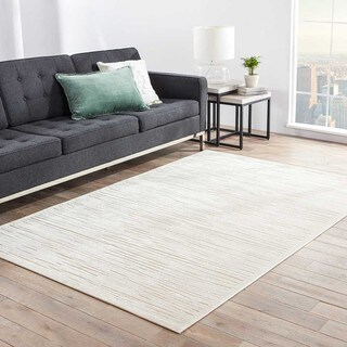 Machine Made Ivory/ Taupe Art Silk/ Chenille Modern Rug (7'6 x 9'6)
