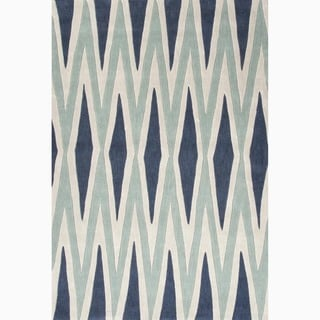 Hand-Made Geometric Pattern Blue/ Ivory Polyester Rug (7.6x9.6)