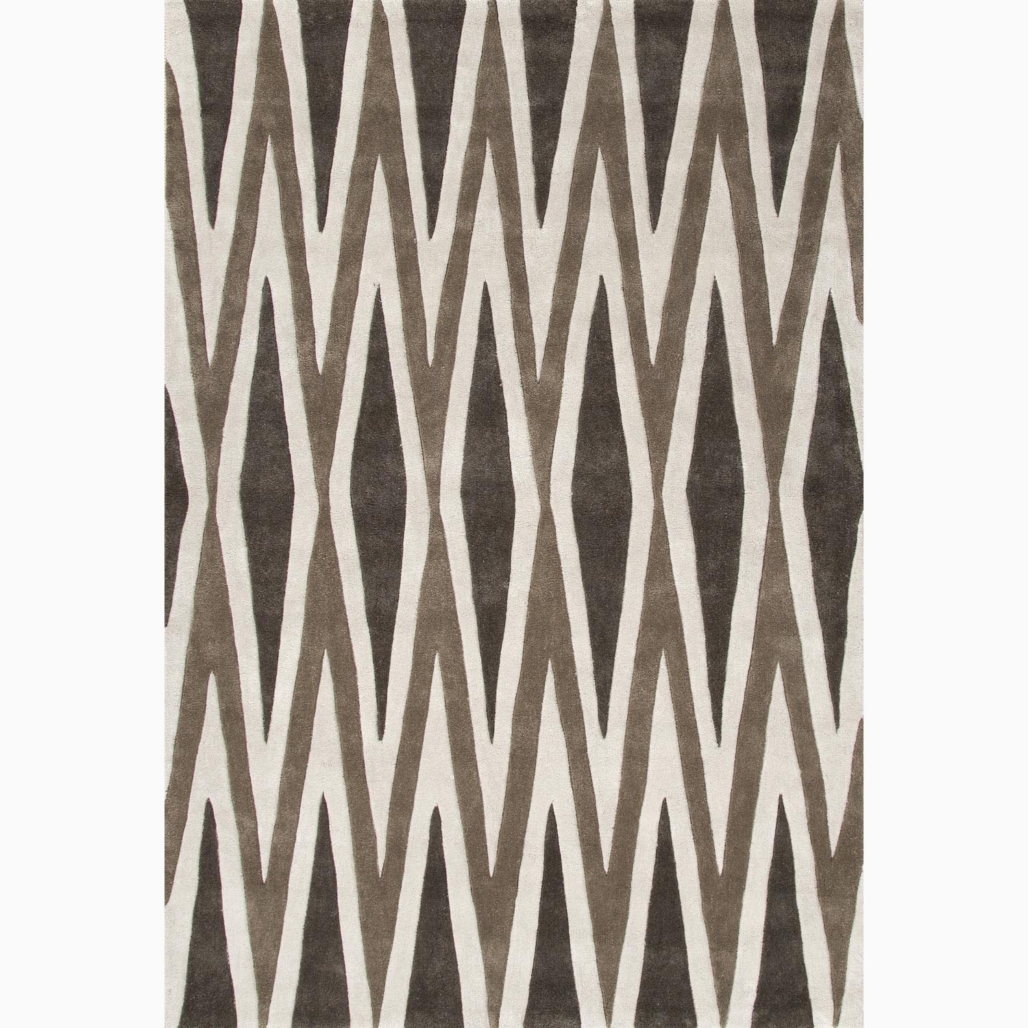 Handmade Geometric Pattern Brown/ Ivory Polyester Rug (7'6 x 9'6)