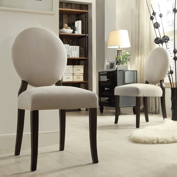 inspire q paulina grey fabric round back dining chair set