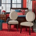Inspire Q Zoey Grey Fabric Round Back Side Chair (Set of 2)