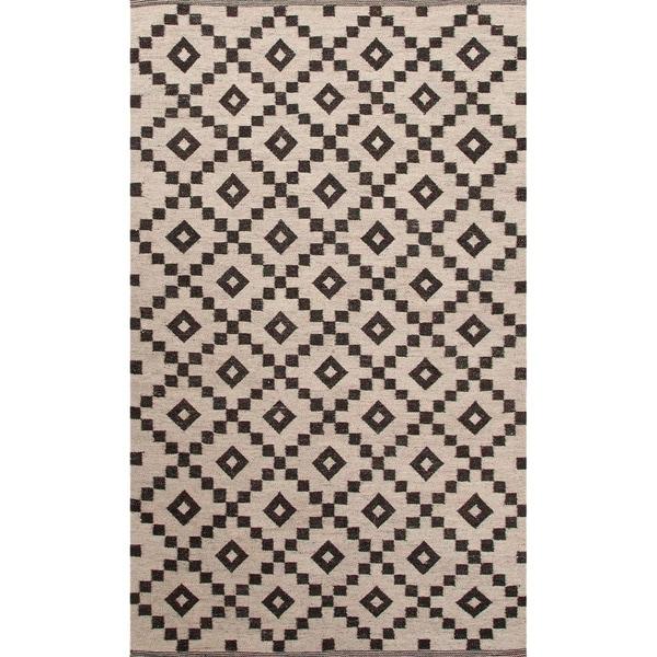 Handmade Ivory/ Black Wool Easy Care Rug (2 x 3)