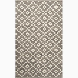 Hand-Made Gray/ Ivory Wool Easy Care Rug (5X8)