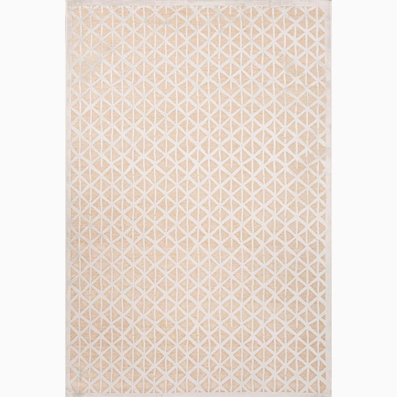 Handmade Taupe/ Ivory Art Silk/ Chenille Modern Rug (9 x 12)