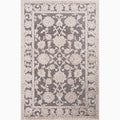 Hand-Made Gray/ Ivory Art Silk/ Chenille Transitional Rug (5x7.6)