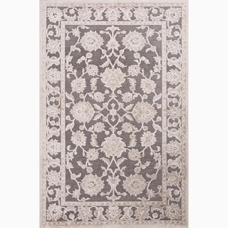 Hand-Made Gray/ Ivory Art Silk/ Chenille Transitional Rug (9x12)