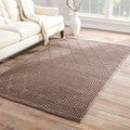 Handmade Geometric Pattern Gray/ Tan Art Silk/ Chenille Rug (7'6 x 9'6)