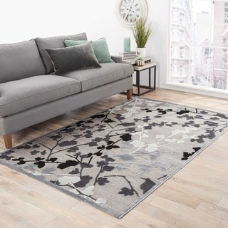 Hand-Made Floral Pattern Gray/ Black Art Silk/ Chenille Rug (5x7.6)