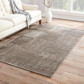 Hand-Made Gray/ Tan Art Silk/ Chenille Modern Rug (9x12)