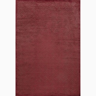 Hand-Made Red/ Brown Art Silk/ Chenille Modern Rug (9x12)