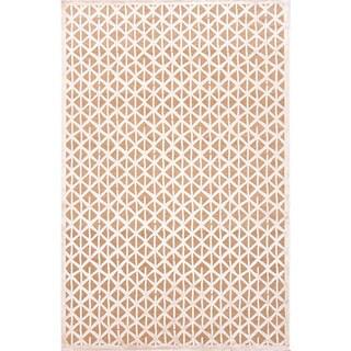 Handmade Taupe/ Ivory Art Silk/ Chenille Modern Rug (7'6 x 9'6)