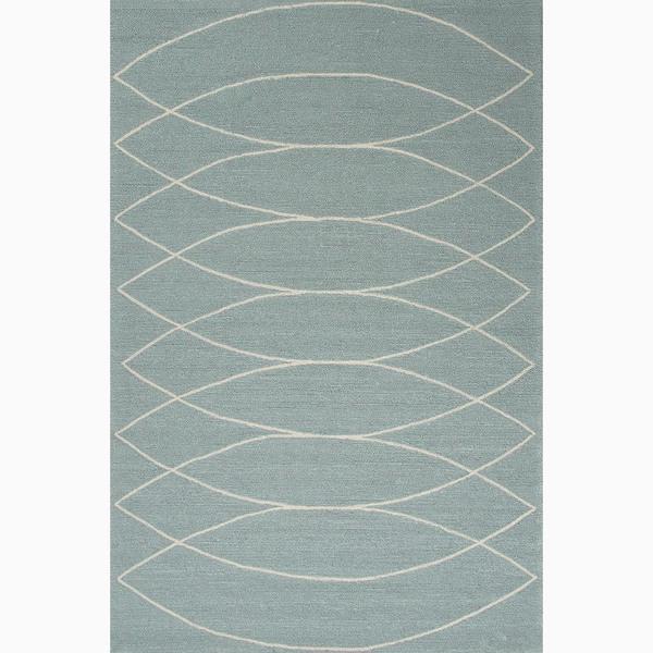 Handmade Blue/ Ivory Easy Care Rug (