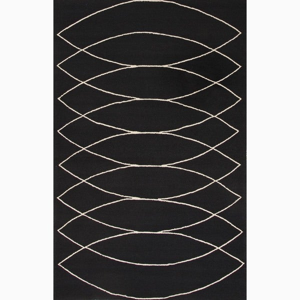 Handmade Black/ Ivory Easy Care Rug