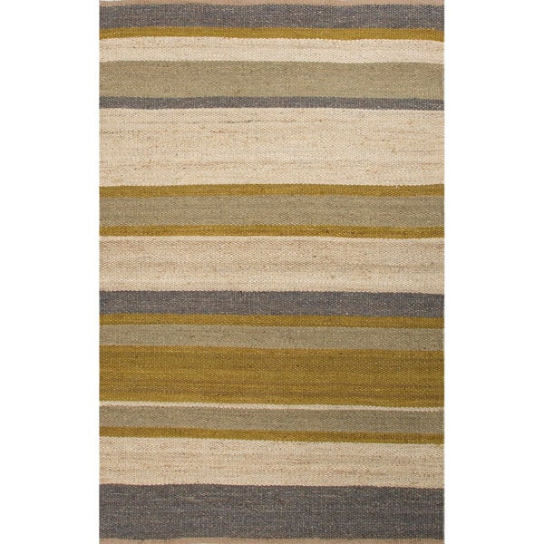 Handmade Green/ Ivory Hemp Natural Rug (5 x 8)