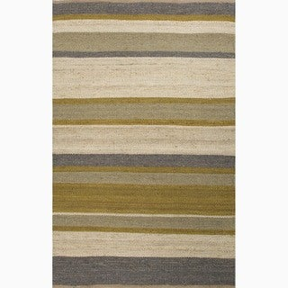 Hand-Made Green/ Ivory Hemp Natural Rug (4X6)