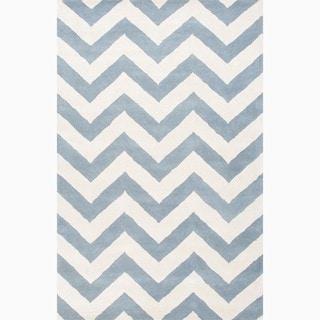 Hand-Made Geometric Pattern Blue/ Ivory Wool Rug (8X11)