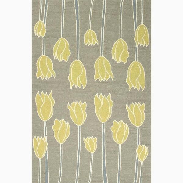 Hand-Made Gray/ Yellow Easy Care Rug