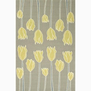 Handmade Gray/ Yellow Polypropylene Easy Care Rug (2 x 3)