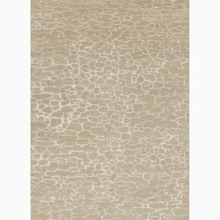Hand-Made Abstract Pattern Taupe/ Ivory Wool/ Art Silk Rug (5x8)