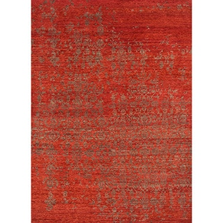 Handmade Abstract Pattern Red/ Brown Wool Rug (5 x 8)