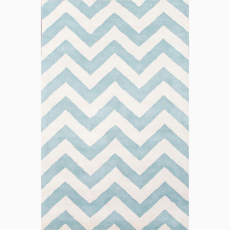 Handmade Geometric Pattern Blue/ Ivory Wool Rug (8 x 11)