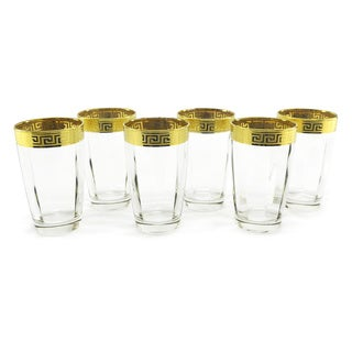 Three Star Gold Rim 6-piece Hand-painted High Ball Glass Set