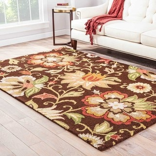 Hand-Made Brown/ Red Wool Looped Pile Rug (8x10)
