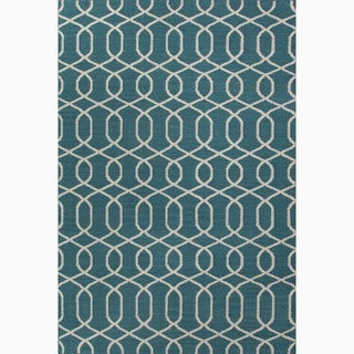 Handmade Geometric-pattern Blue/ Ivory Wool Area Rug (9' x 12')