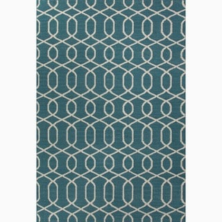 Handmade Geometric-pattern Blue/ Ivory Wool Area Rug (9' x 12')