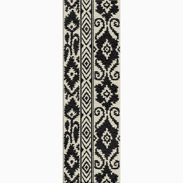 Hand-Made Tribal Pattern Ivory/ Black Wool Rug (2.6x8)