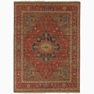 Handmade Oriental Pattern Red/ Blue Wool Rug (6 x 9)