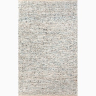 Handmade Blue/ Ivory Wool/ Art Silk Reversible Rug (4 x 6)
