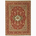 Hand-Made Oriental Pattern Red/ Green Wool Rug (6x9)