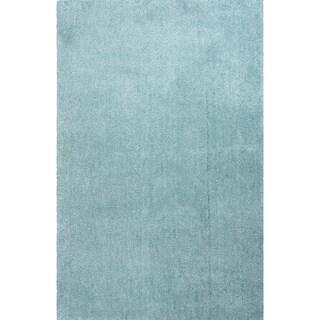 Handmade Blue Polyester Plush Pile Rug (4 x 6)