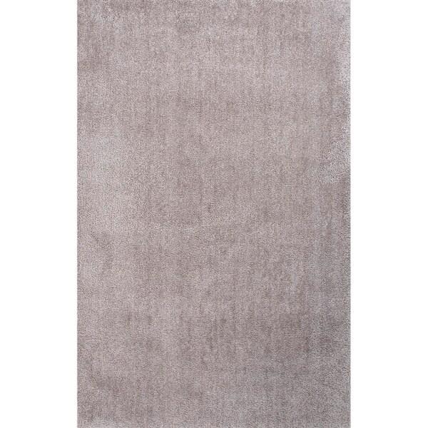 Handmade Gray Polyester Plush Pile Rug (5 x 8)