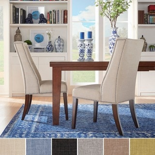 Inspire Q Regency Mocha Linen Nailhead Wingback Hostess Chair (Set of 2)