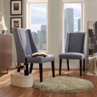 INSPIRE Q Geneva Light Blue Linen Wingback Hostess Chairs (Set of 2)