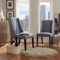 Inspire Q Regency Denim Blue Linen Nailhead Wingback Hostess Chair (Set of 2)