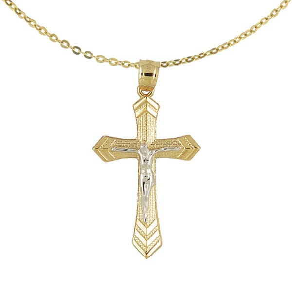 14k Two-tone Gold Cross with Jesus Pendant Necklace