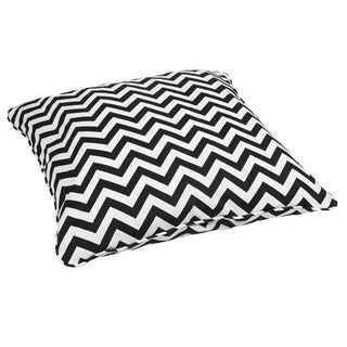 Black Chevron Corded Outdoor/ Indoor Large 28-inch Floor Pillow