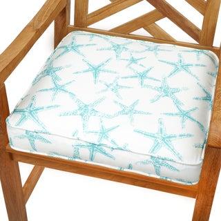 Aqua Starfish 19-inch Indoor/ Outdoor Corded Chair Cushion