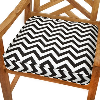 Black Chevron 19-inch Indoor/ Outdoor Corded Chair Cushion