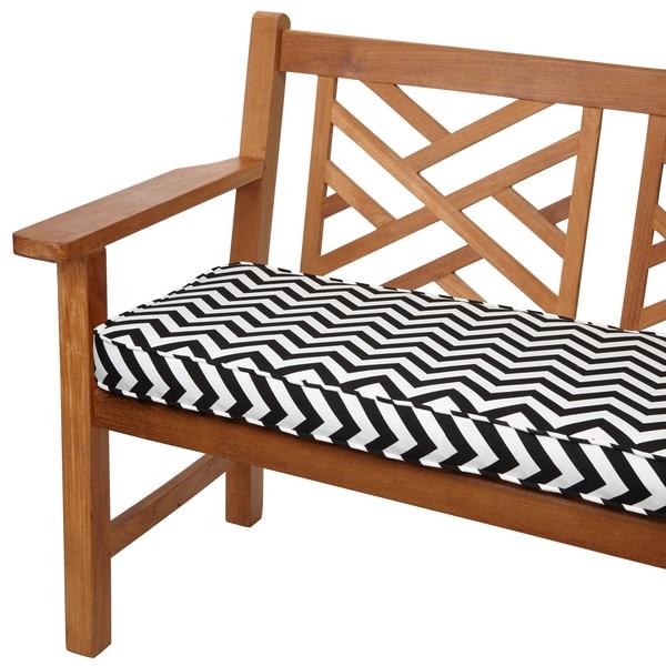 Black Chevron 48 Inch Indoor Outdoor Corded Bench Cushion