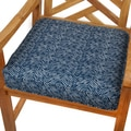 Navy Herringbone 20-inch Indoor/ Outdoor Corded Chair Cushion